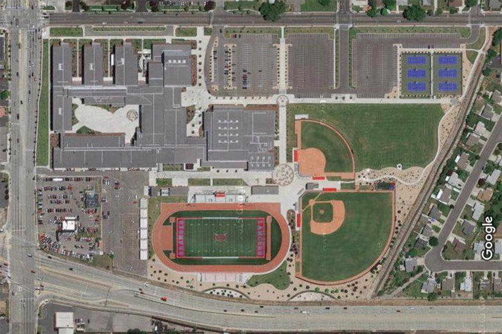 This is a Google Maps image of the Granger High School campus.