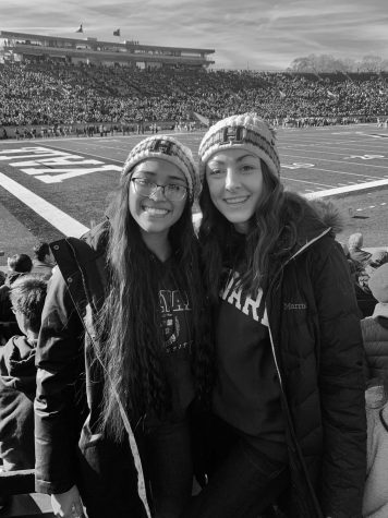 Granger alumna Jelena Dragicevic (R) attends a Harvard vs. Yale football game with her roommate, Leilani Wesley (L). Dragicevic wants Lancers to aim high.